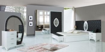 Schlafzimmerset Kral Weiß Schwarz