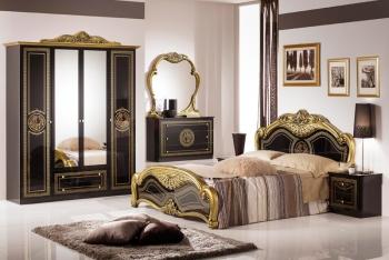 Schlafzimmerset Laura Schwarz Gold