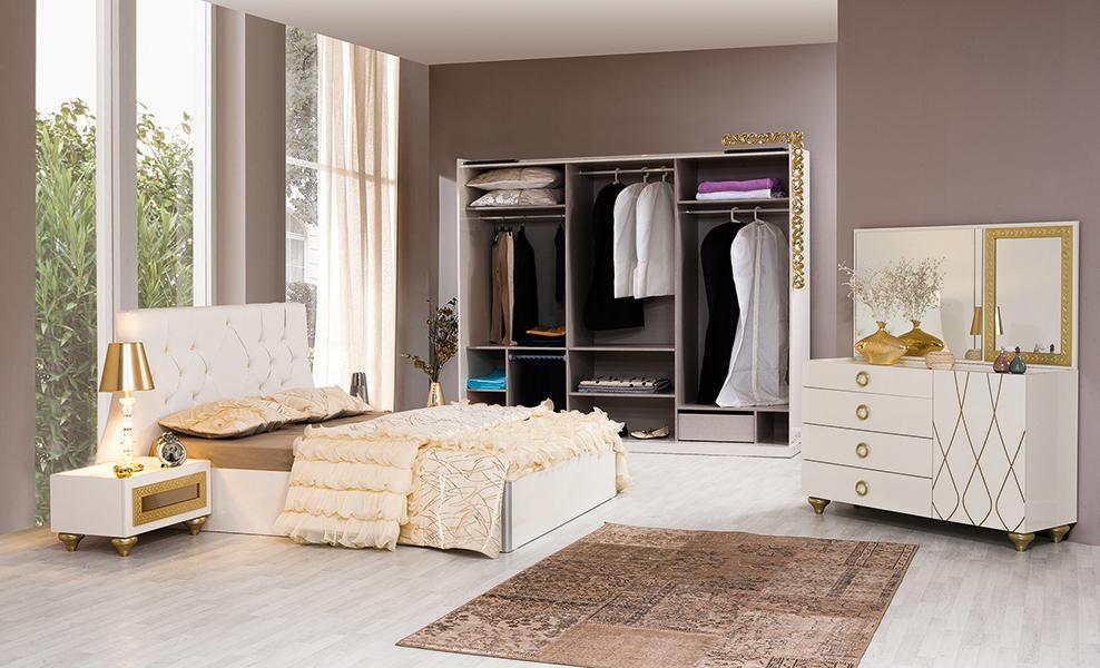 Schlafzimmerset Saray Beige Gold-